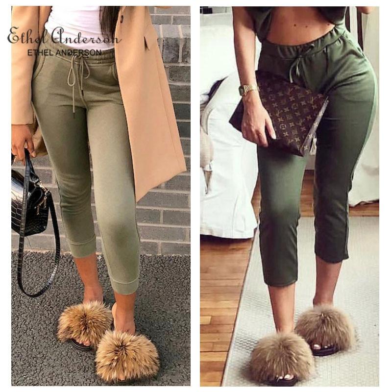 Ethel Anderson Fashion Real Raccoon Fur Slides Slippers Summer Flip Flops Casual Vogue Fox Fur Sandals Vogue Plush Shoes