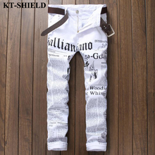 Весенние Новые Джинсы Мужчины Модный бренд белые буквы печать джинсы мужчины тощий повседневные брюки Hip Hop Хлопок Мужские джинсовые брюки