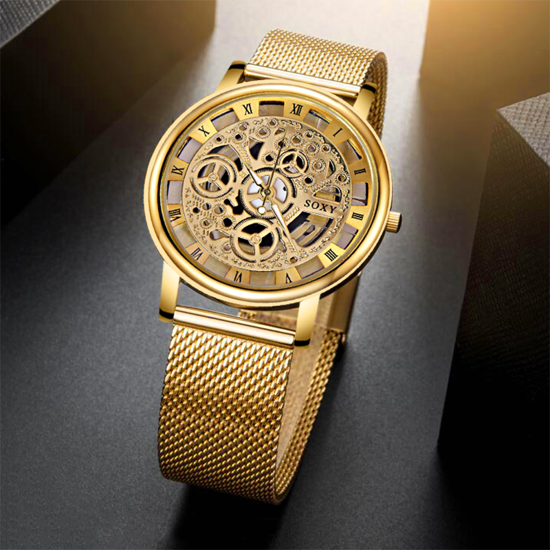 Silver & Golden Luxury Hollow Steel Watch