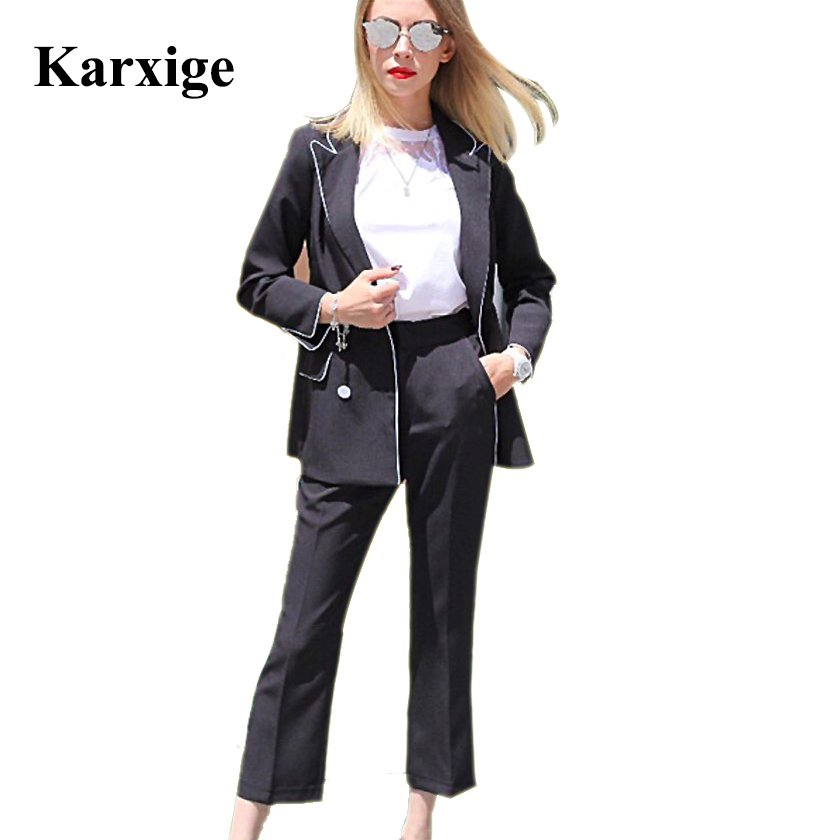 pearl button All match Long Sleeved double breasted elegant office lady high end female ninth size Pants Suit women