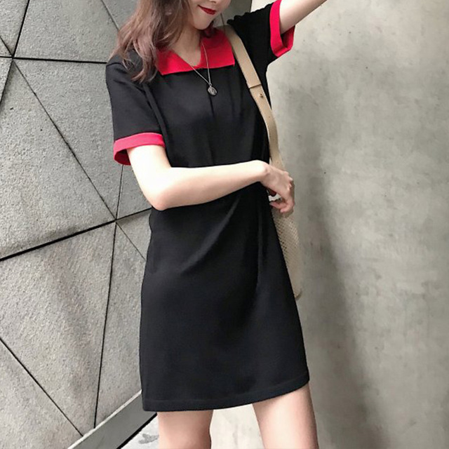 5b97d86dec0f Korean Womens Dress A Line Knitted Striped Fashion Polo T Shirt ...