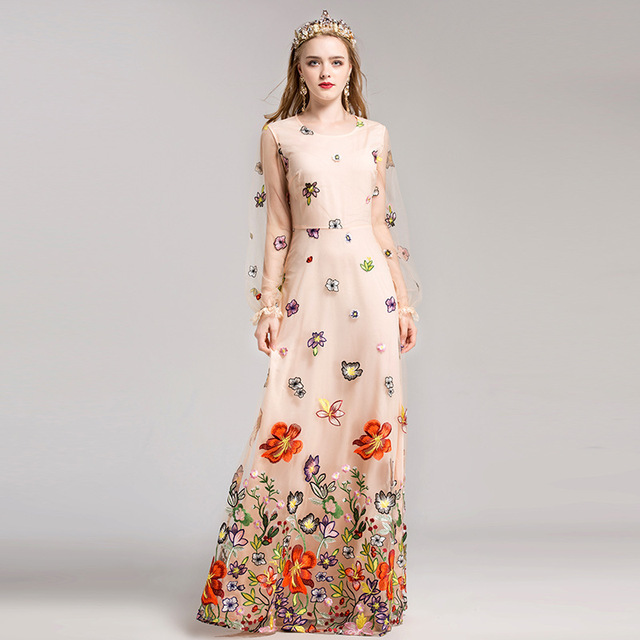 Flower Embroidery Party Dresses