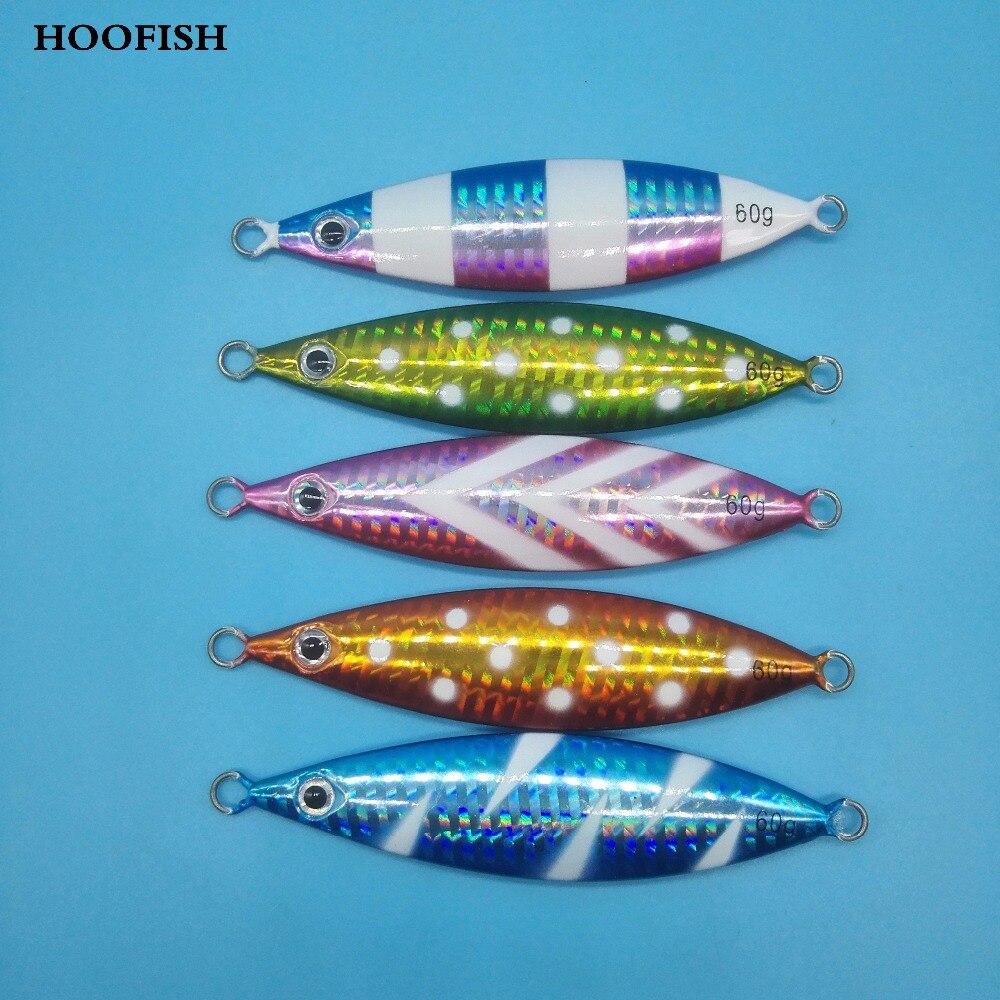 HOOFISH 5PCS/LOT Slow Sinking Jig lure 60g/8.8cm Lead Metal Sinker Jigging Lure Deep Sea Artificial Fishing lure