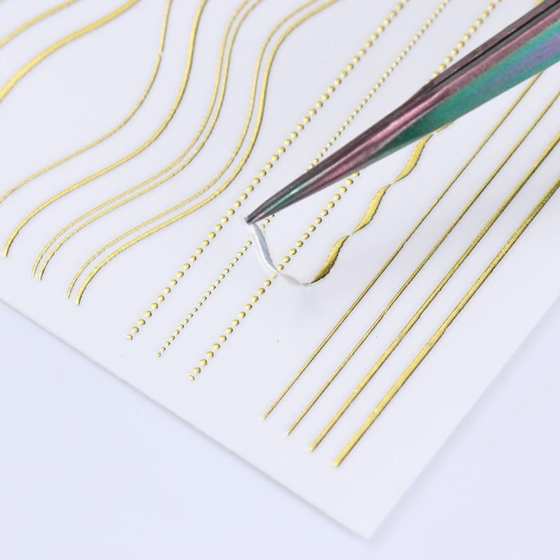 Image 2 - 1 лист золотых и серебряных линий, 3D наклейки для ногтей, многоразмерные металлические наклейки, переводные наклейки, маникюрные украшения для ногтей-in Стикеры и наклейки from Красота и здоровье on AliExpress