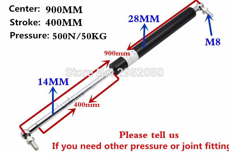 Free shipping 500N/50KG force 900mm central distance, 400 mm stroke, pneumatic Auto Gas Spring, Lift Prop Gas Spring Damper free shipping 280mm central distance 100 mm stroke pneumatic auto gas spring lift prop gas spring damper the furniture end