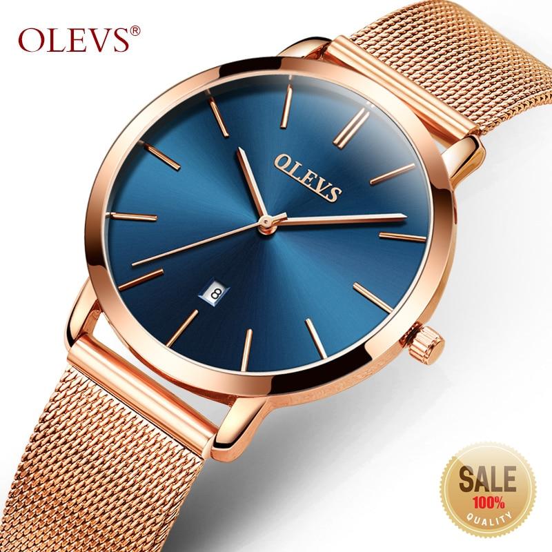 3e603d9bfad2 OLEVS reloj ultrafino de oro rosa para mujer Calendario de malla de acero  Correa reloj de pulsera Dial de cuarzo para mujer relojes de mujer relogia  ...