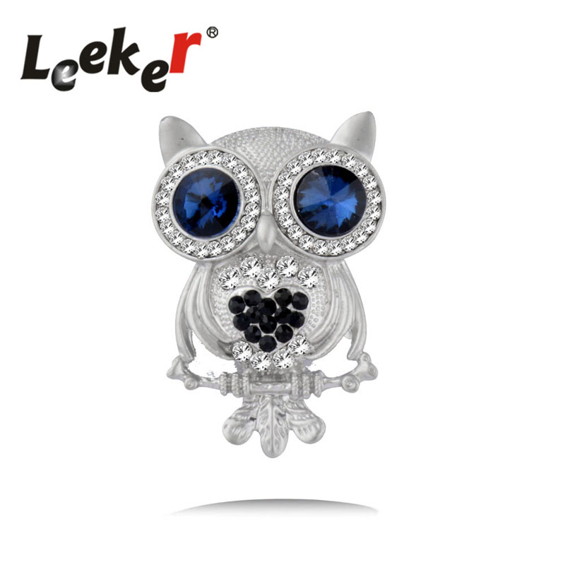 Brilliant Leeker Lovely Sliver Color Owl Animal Blue Eyes Brooches Pins For Women Banquet Weddings Jewelry Broche Gift Lk9 Jewelry & Accessories