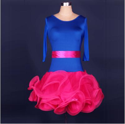 New Style Latin Dance Costume Half Sleeves Spandex Latin Dance Dress For Women  Latin Dance Competition Dresses S-4XL 6f3a5c8afce3