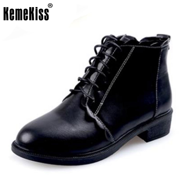 KemeKiss Autumn Shoes Women Med Heels Ankle Boots Women Ruffles Cross Tied Round Toe Booties Ladies Leisure Footwear Size 35-39 berdecia hollow out ankle round toe women boots low square heels cross tied female shoes elegant riding equeatrian women boots