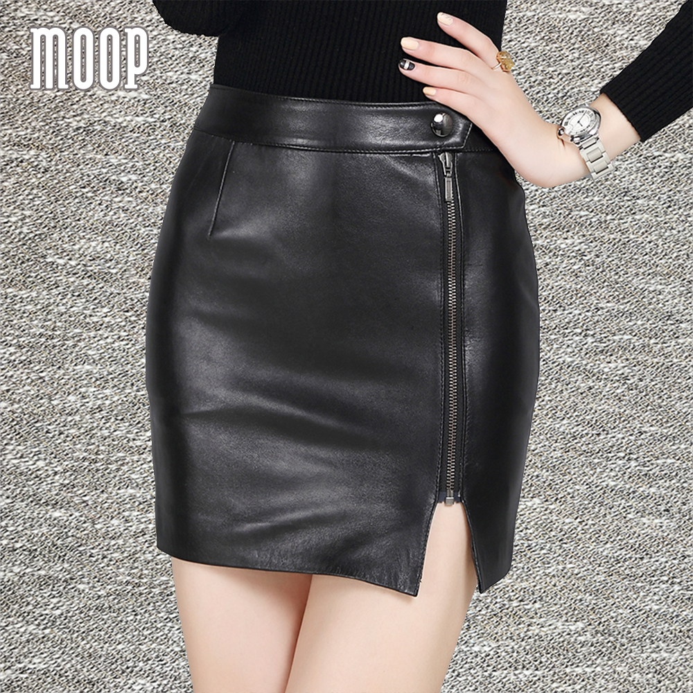 Aliexpress.com : Buy Black genuine leather skirts women zipper ...