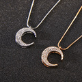 Simple Hollow Rhinestone Moon Shape Simulated Pearl Long Pendant Double Necklaces Accessories  for Women Sweater Jewelry