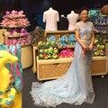 2015 New Arrivals imagens reais bordado cheio celebridade vestidos A linha Formal vestidos Customiz