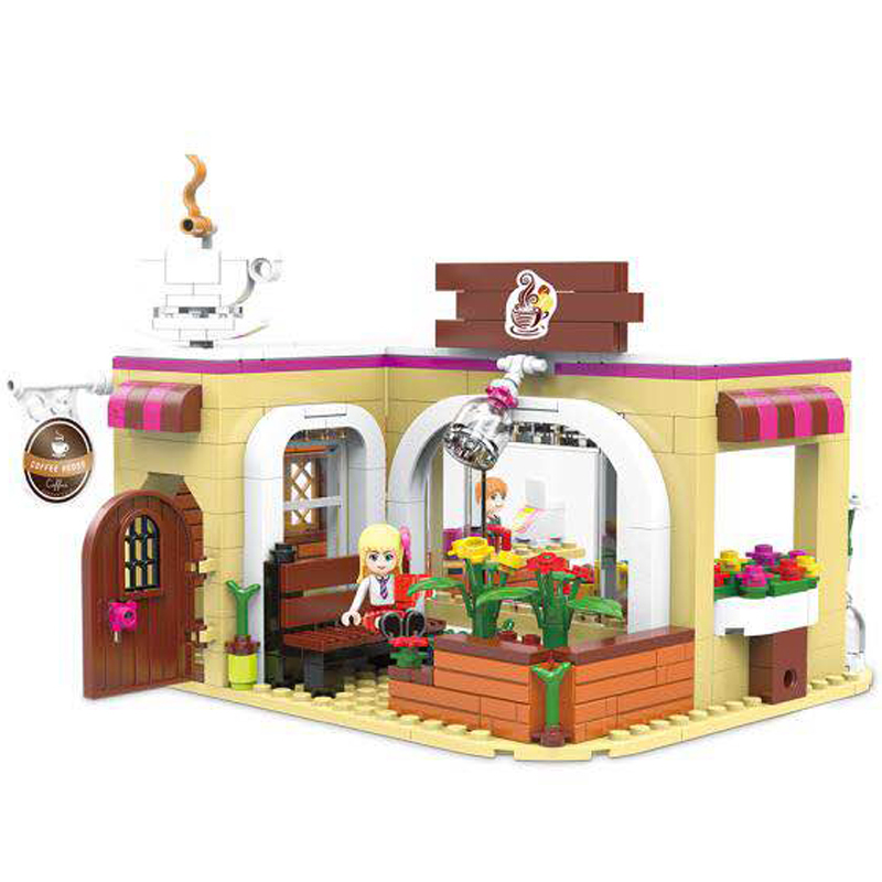 New 426pcs Diy City Girl Friends Series The Coffee Store Set Building Blocks Compatible With L Brand Bricks Toys For Children new lepin 16009 1151pcs queen anne s revenge pirates of the caribbean building blocks set compatible legoed with 4195 children