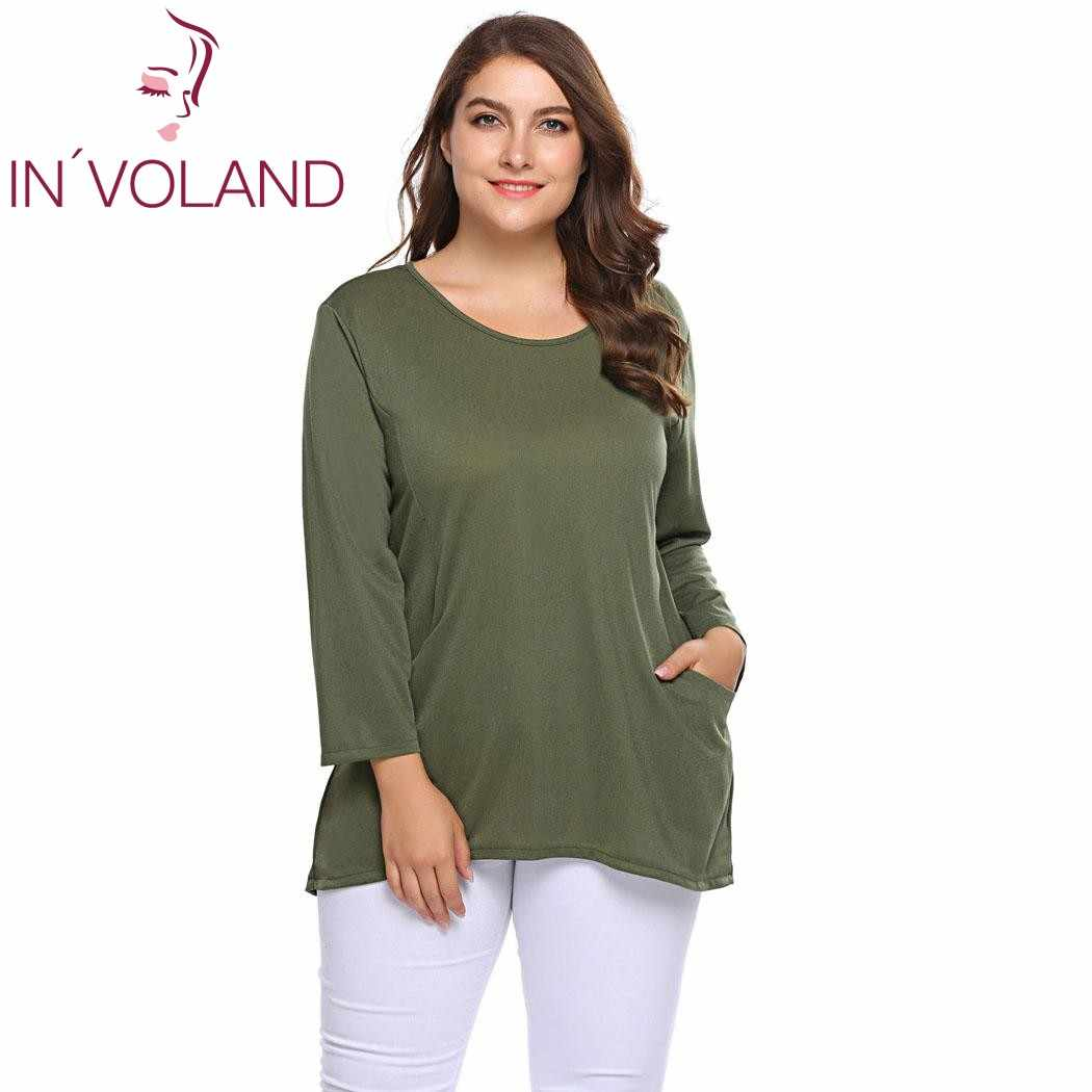 IN'VOLAND Large Size Women Basic T-Shirt XL-5XL Autumn Spring Long Sleeve O Neck Tshirt Tunic Pullover Female Tee Tops Plus Size