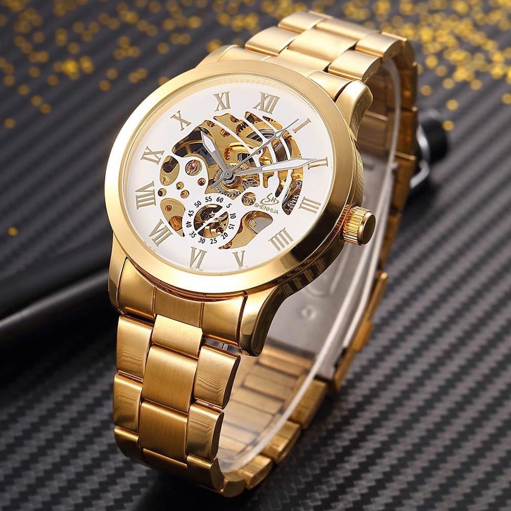 SHENHUA Zegarek męski Luksusowa Moda Mężczyźni Złoty Szkielet - Męskie zegarki - Zdjęcie 5