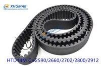 HTD 14M synchronous belt timing belt C=2590 2912 width 28.5 85mm Teeth 185 208 rubber belt timing belt cnc transmission belt