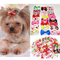 20pcs/set Assorted Pet Cat Dog Hair Bows with Rubber Bands Grooming Accessories Small Animals Habitat Decor