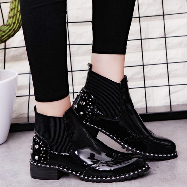 1a3e9ecea23b Women Chelsea Boots Patent Leather Ankle Boots Woman Shoes 2018 Winter  Rivets Black Boot designer shoes botas mujer 6758