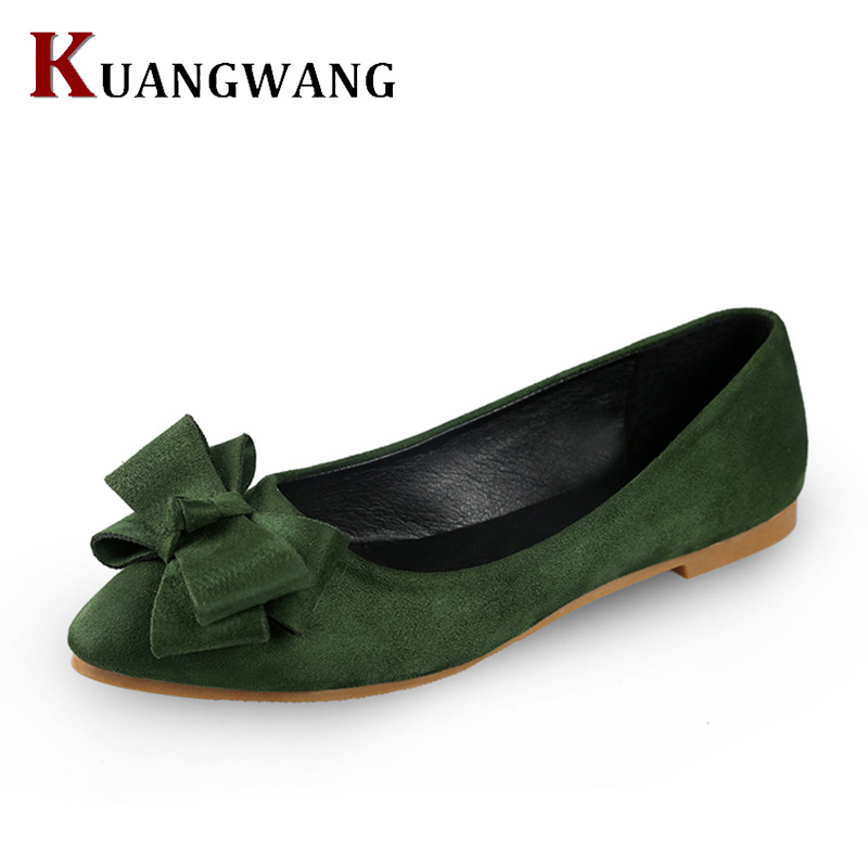 Women Flats Shoes 2017 New Sweet Bow Pointy Toe Women's Flats Suede Solid Flock Ballerina Flat Shoes Woman Shoes Size 34-40 2017 spring summer new pointed flat flock bow women s shoes work shoes ballerina flats plus size 34 41