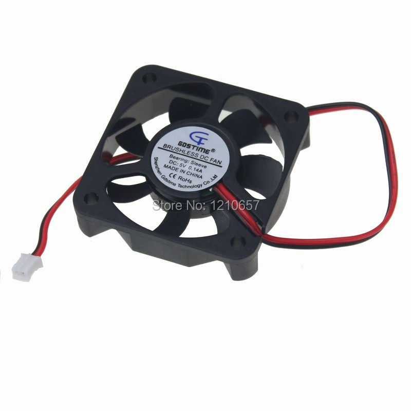 <font><b>200</b></font> Pieces LOT Gdstime 50mm 5cm 50x50x10mm 5010s DC 5V 2Pin Master Cooling <font><b>Fan</b></font> image