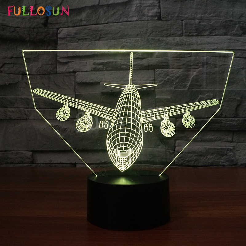 Airplane Model 3D LED Lamp Touch Button Aircraft Lights Colorful Children Kids Gift