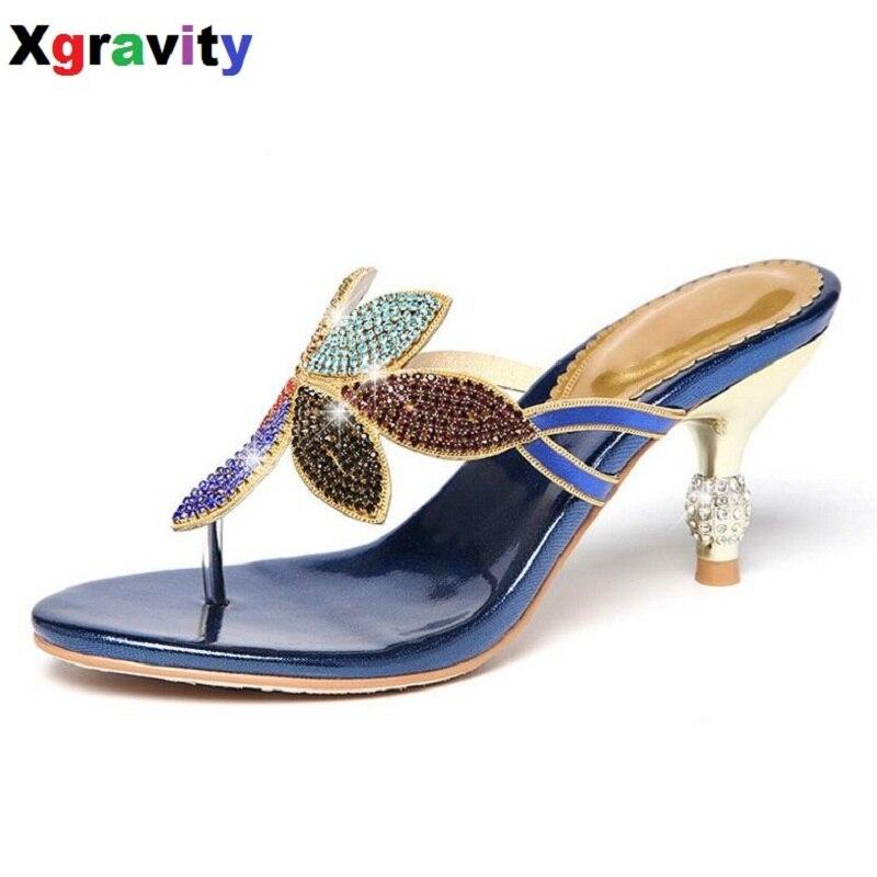 Shoes Xgravity 2019 Summer Shoes New Ladies Thin Heel Pumps Sexy Crystal Rhinestone Design Women Shoes Elegant Ladies Elegant Sandals