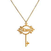 Senfai Personalized Custom Cursive Name Necklace Stainless Steel Date Any Word Special Key Design Pendant Necklaces for Women