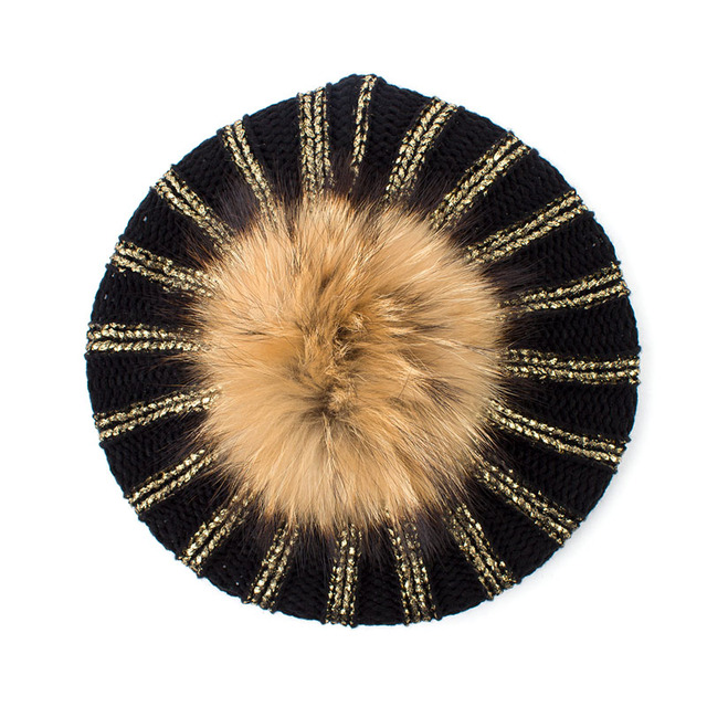 Geebro Women's Bronzing Black Berets Hat Ladies Spring Casual Knit Acrylic French Beret Cap With Real Raccoon Fur Pompon DQ405A
