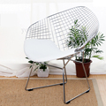 FREE SHIPPING Harry Diamond Leisure Chair Diamond Steel Wire Chair Bertoia Diamond Chair cushion Modern Wire Chair chromed