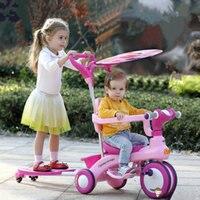2 в 1 детский трехколесный самокат с навесом, близнецы трехколесный скутер может вытечет, музыкальный трехколесный велосипед для двух детей,