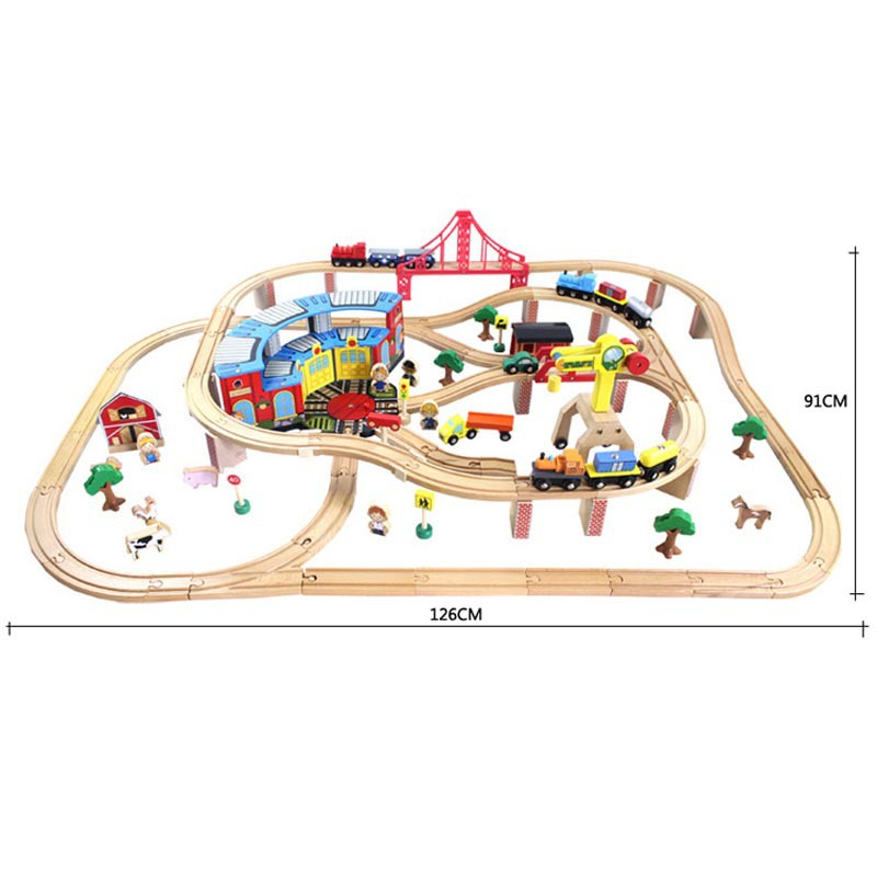 Best Christmas Gift Toys 142pcs/set Wooden Tomas railway train track slot toys for baby