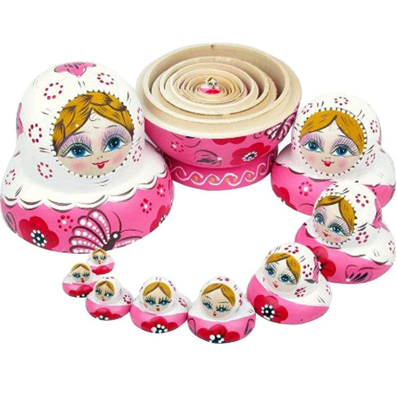10pcs Matryoshka Handmade Wooden Russia Nesting Dolls Gift  pink girl