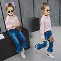 New 2017 Girls Spring Jeans Pants Kids Ruffles Flare Pants Children Fashion Cotton Trousers Baby Pants Toddler Clothes,2-7Y