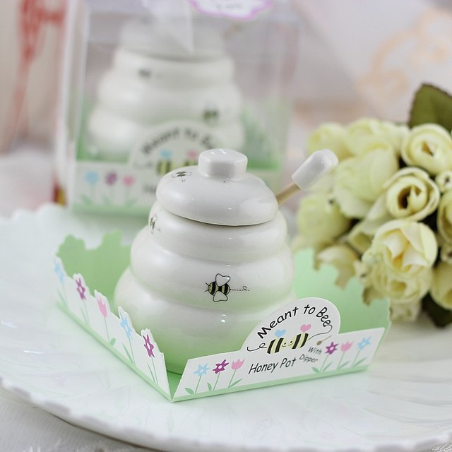 50pcs Meant To Bee Ceramic Honey Pot Wedding Bridal Shower Favor Gifts Baby Favors