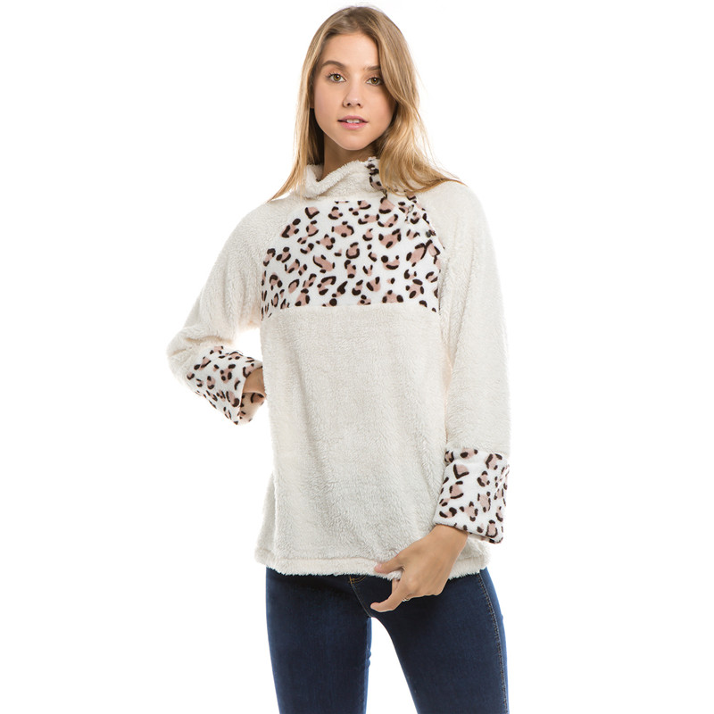 Search For Flights Winter Women Sweater Turtleneck Sherpa Pullover Leopard Patchwork Fleece Tops Women Casual Jumper Chic Sherpa Sweaters Cheap Sales 50% Sweaters Pullovers