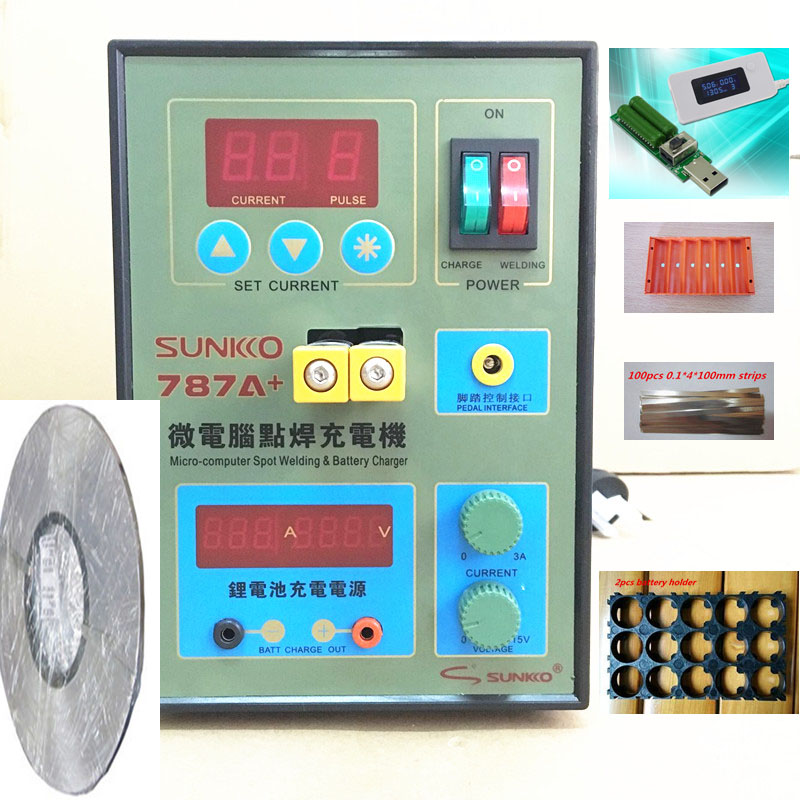 Soudeuse de batterie de soudeuse de tache de 220 v 787A pour la soudure de précision de batterie de cahier et de téléphone + 1 rouleau 0.1*4mm feuille de Nickel + 1ste testeur