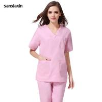 sanxiaxin Fashion Women Medical Uniforms Nursing Clothes Short Sleeve Work Wear V Neck Solid Summer Short Sleeve Nurse Uniform