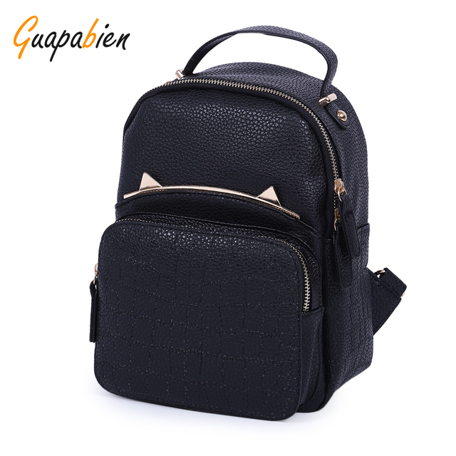 Guapabien Kawaii Korean Japen Girl PU leather Backpack Preppy Fashion Rivet School Bags Metal Bag Fashion Colleague Bookbag