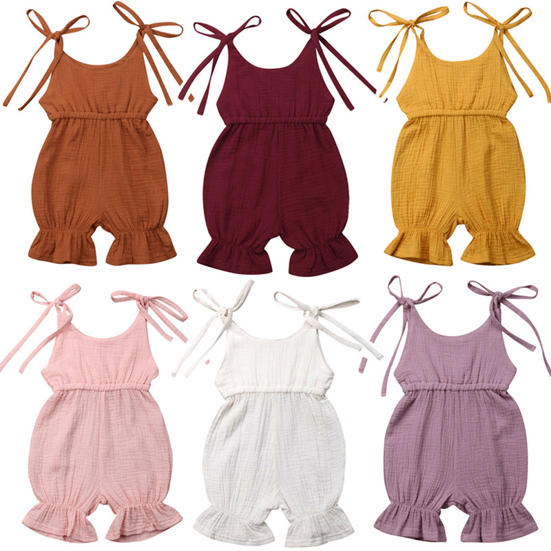 Newborn Kids Baby Girl Summer Solid   Romper   Jumpsuit Outfit Sunsuit 0-4Years
