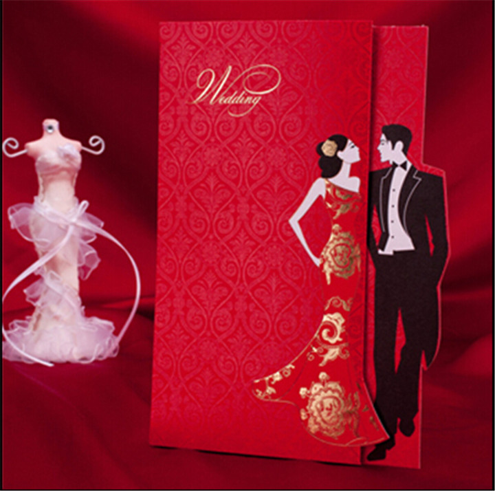 Free Shipping Classic Red Chinese Wedding Invitation Card With