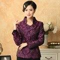 Стильный Фиолетовый Китайский Дамы Шелковый Атлас Куртка Стильный Аппликации Куртка Элегантный тонкий Цветочный Пальто Размер Sml XL XXL XXXL T033-A