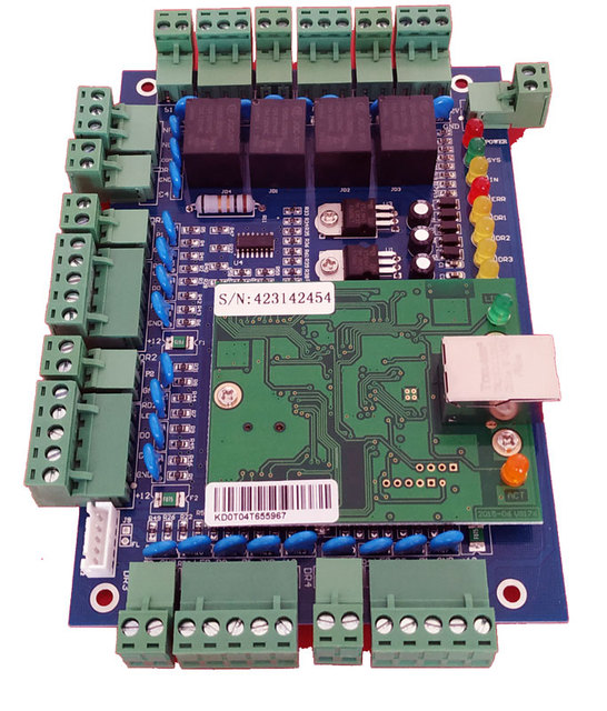 TCP/IP four Door access Control,Network access control board for access  system / time attendance support RFID QR reader sn:L04