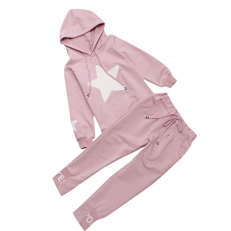 Children Autumn Girls Sport Outfit Cotton Hooded Girls Clothing Sets Five Star Hoodies & Pants 2 Peice Sets 4 5 6 8 10 Years