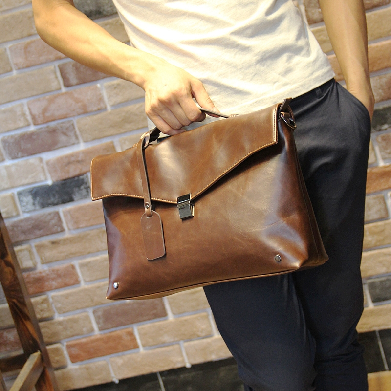 Hot sell Personalized Case Vintage Men Messenger Bags Cool Men PU Shoulder  Male Briefcase Casual Fashion Business Men Handbag-in Crossbody Bags from  Luggage ... a46f39508f267