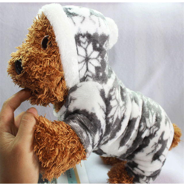 The New Autumn And Winter Snowflake Soft Fleece Dog Clothes Pet Dog Dress Pattern Coral Velvet Deer Christmas Puppy Coat Four Ha 1