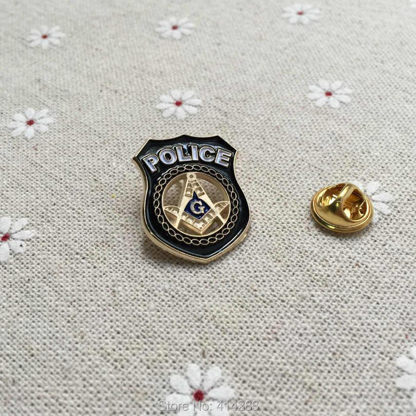1 PIN para la solapa masónico, broche de Masonería hecho a mano con recorte cuadrado y brújula dentro de la insignia para la policía