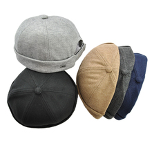 Men Women Skullcap Beanie Worker Sailorcap Rolled Cuff Retro Brimless Outfit Hat sheer panel rolled cuff shirt