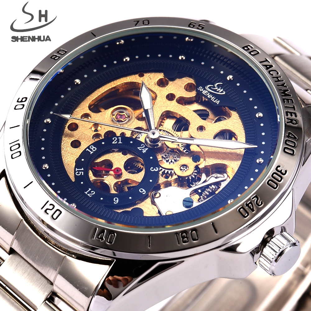 SHENHUA Luxury Brand Skeleton Automatic Watch Men Mechanical Watches Fashion Black Stainless Steel Wristwatch Relogio Musculino shenhua brand black dial skeleton mechanical watch stainless steel strap male fashion clock automatic self wind wrist watches