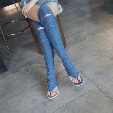 YMECHIC 2018 Blue Black Denim Cross Tied Knee High Gladiator Sandals Women Summer Long Denim Boot Shoes Plus Size Lady Sandals