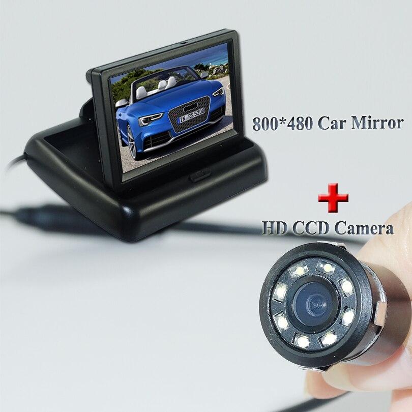 ca8ca8102 8 led carro pequeno câmera de estacionamento preto shell uso para vários  carro + monitor do carro dobrável com cor de exibição hd lcd de 4.3